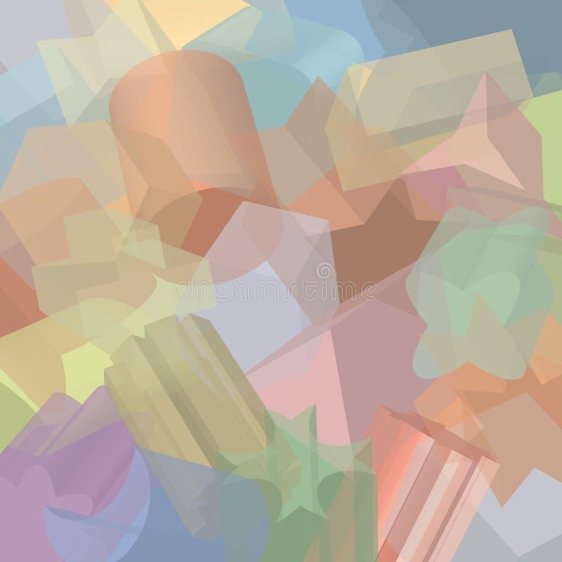 Digitaal geproduceerde 2D uitgedreven vormen, overlappend, in vage kleuren stock illustratie