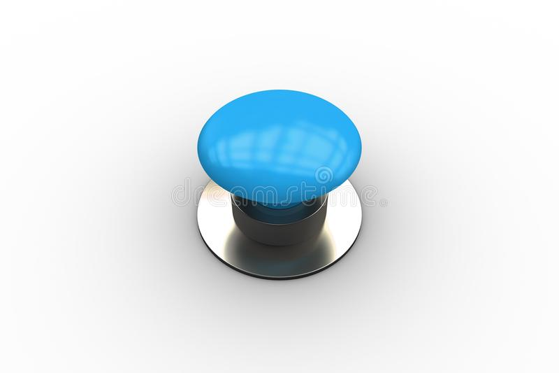 Digitaal geproduceerde glanzende blauwe drukknop royalty-vrije illustratie