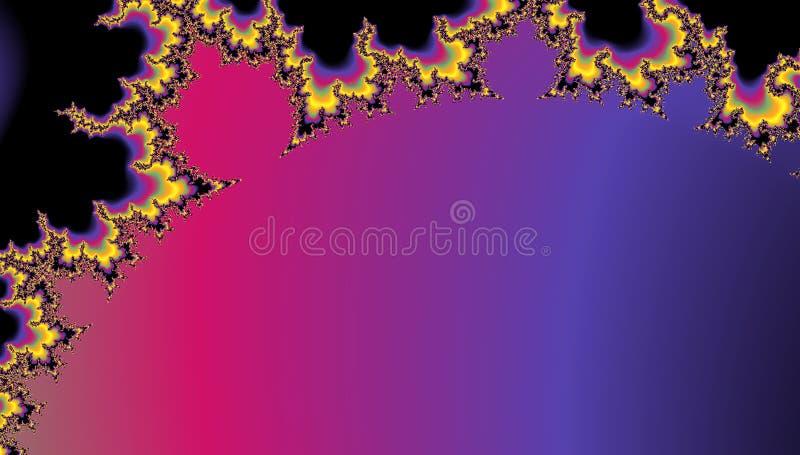 Digitaal geproduceerde kleurrijke die fractal achtergrond op mandelbrot wordt gebaseerd met exemplaarruimte wordt geplaatst voor  stock illustratie