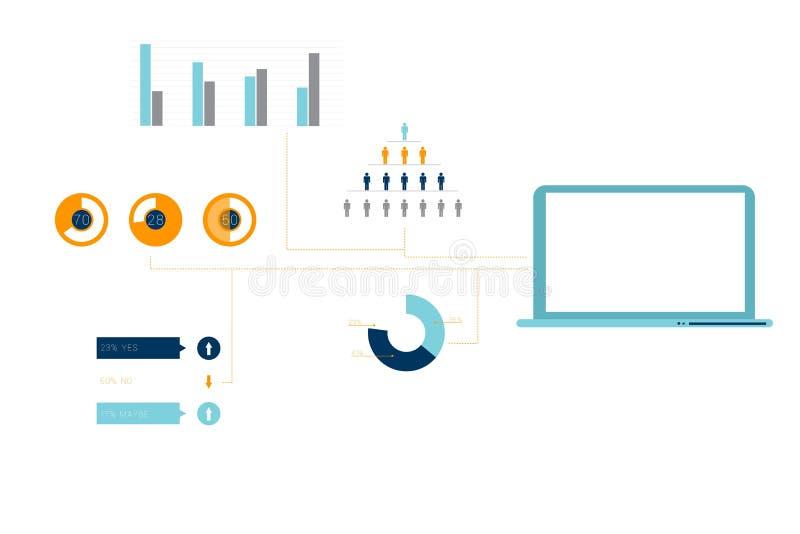 Digitaal geproduceerde oranje en blauwe infographic zaken stock illustratie