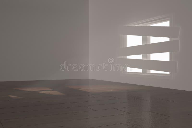 Digitaal geproduceerde ruimte met gegrenst omhoog venster royalty-vrije illustratie