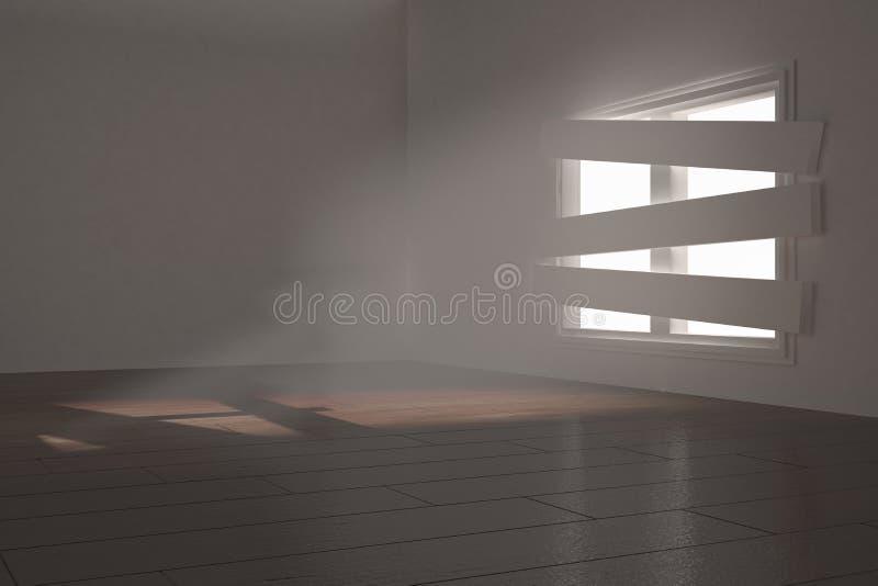Digitaal geproduceerde ruimte met gegrenst omhoog venster vector illustratie