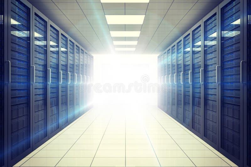 Digitaal geproduceerde serverruimte met torens royalty-vrije illustratie