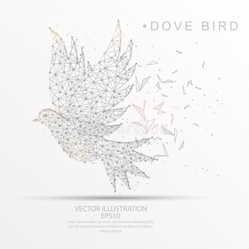 Digitaal getrokken van de vogelvorm laag polydraadkader vector illustratie