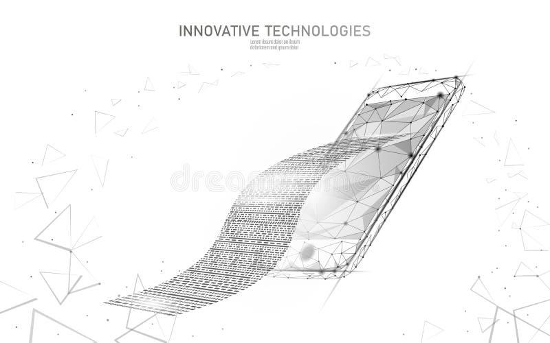 Digitaal het bankwezenconcept van het rekenings 3D Web Veelhoekige puntlijn online het winkelen smartphone van de kaartjesbetalin royalty-vrije illustratie