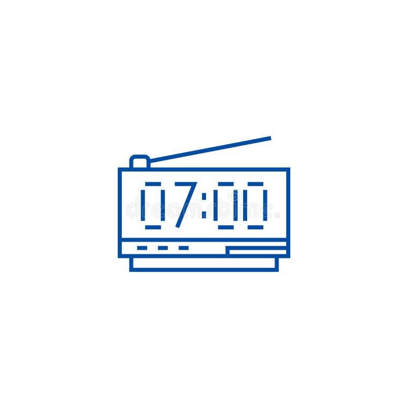 Digitaal het pictogramconcept van de kloklijn Digitaal klok vlak vectorsymbool, teken, overzichtsillustratie stock illustratie