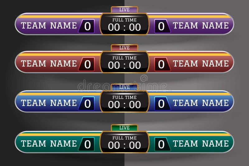 Digitaal het Scherm Grafisch Malplaatje van het voetbalscorebord voor het Uitzenden van voetbal, voetbal of futsal Illustratie ve stock illustratie