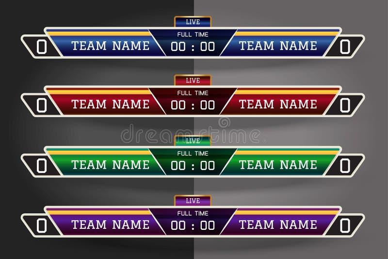 Digitaal het Scherm Grafisch Malplaatje van het voetbalscorebord voor het Uitzenden van voetbal, voetbal of futsal Illustratie ve royalty-vrije illustratie