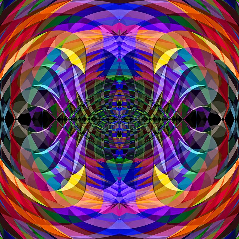 Digitaal het Schilderen Abstract Chaotisch Golvend Illusiepatroon op Trillende Kosmische Pastelkleurenachtergrond royalty-vrije illustratie