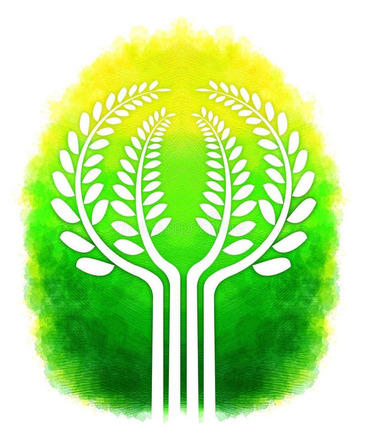 Digitaal het schilderen boomontwerp stock illustratie