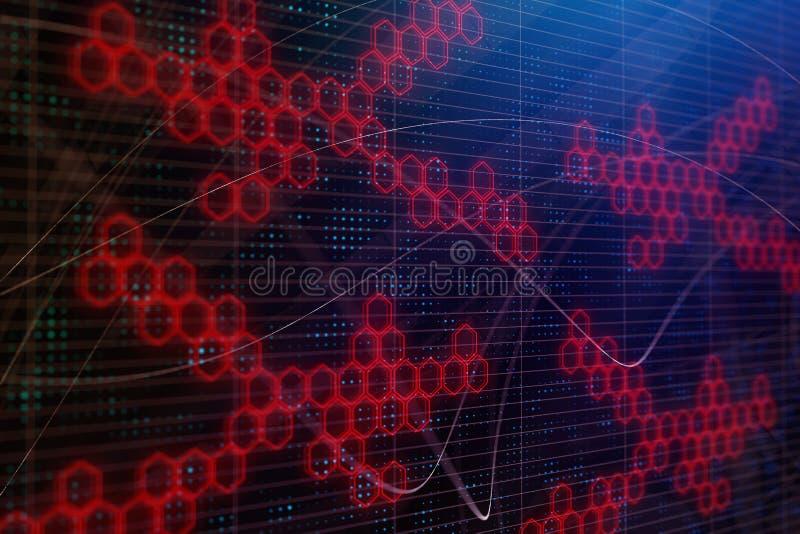 Digitaal hexagon behang royalty-vrije illustratie