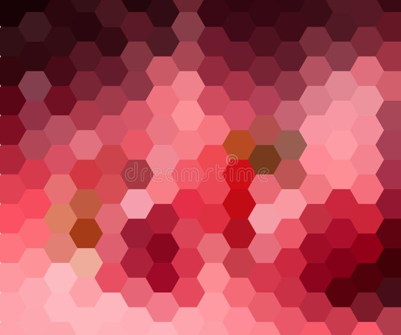 Digitaal hexagon pixelmozaïek, helder, roze, purper, kleuren abstracte vectorachtergrond vector illustratie