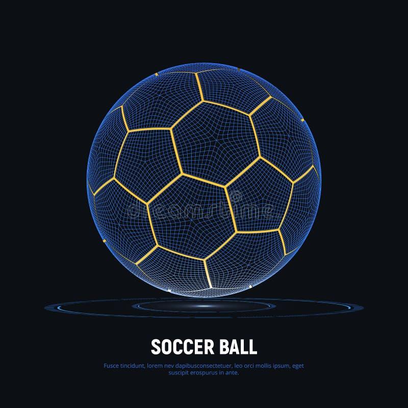 Digitaal hologram van voetbalbal met hudelementen Futuristische voetbal Wireframenetwerk van voetbalbal met gele lijnen vector illustratie