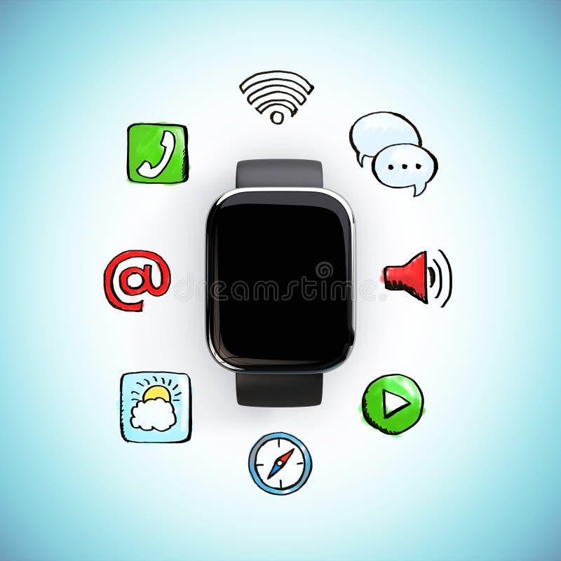 Digitaal horloge met sociale media pictogrammen vector illustratie