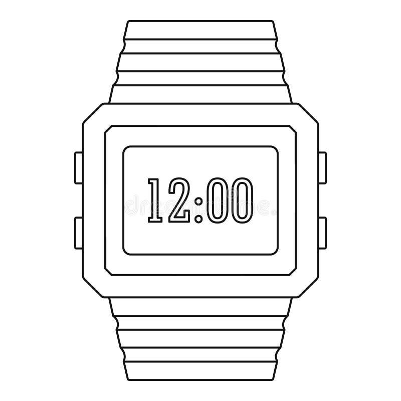 Digitaal horlogepictogram, overzichtsstijl royalty-vrije illustratie