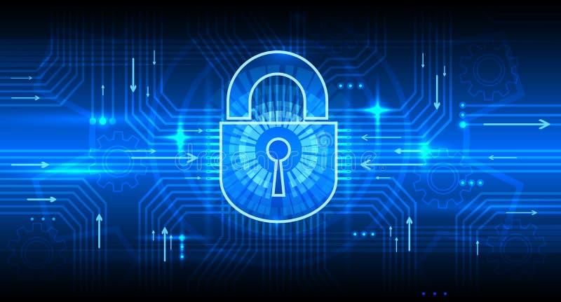 Digitaal informatiebeveiligingsconcept met slot Veilig Internet, privacy en wachtwoordbeschermings vectorachtergrond royalty-vrije illustratie
