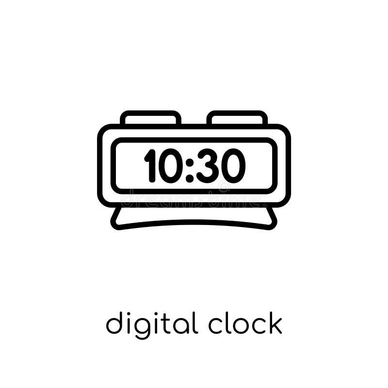 Digitaal klokpictogram In modern vlak lineair vector Digitaal CLO stock illustratie