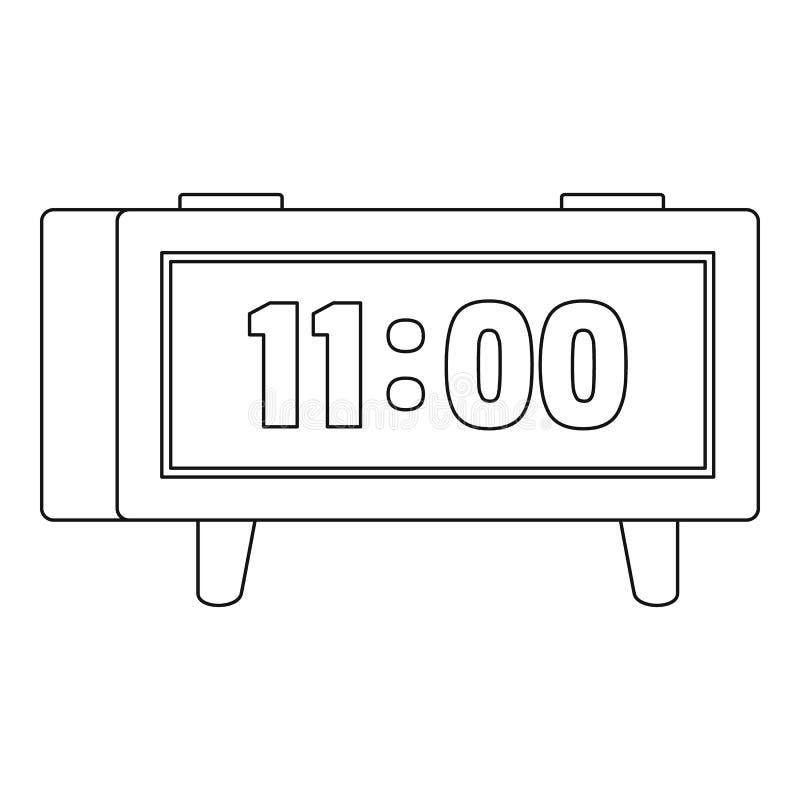 Digitaal klokpictogram, overzichtsstijl vector illustratie