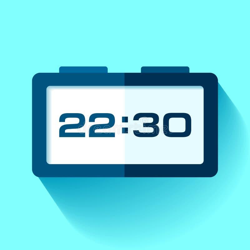 Digitaal Klokpictogram in vlakke stijl, tijdopnemer op blauwe achtergrond 22:30 Eenvoudig horloge Vectorontwerpelement voor u bed royalty-vrije illustratie