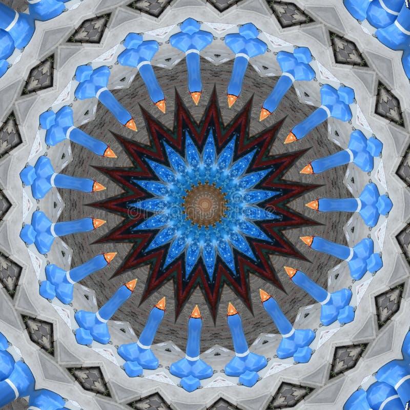 Digitaal kunstontwerp, blauwe ster en kaarsen, geproduceerde computer royalty-vrije illustratie
