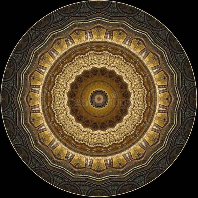 Digitaal kunstontwerp in elegant patroon in gouden en bruine kleuren stock illustratie
