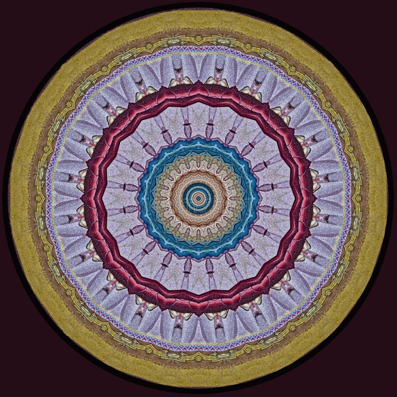 Digitaal kunstontwerp, kleurrijk mozaïekpatroon in lilac gouden en r stock illustratie