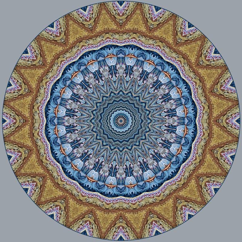 Digitaal kunstontwerp, kleurrijke blauwe bloemen i van het mozaïekpatroon iwith royalty-vrije illustratie