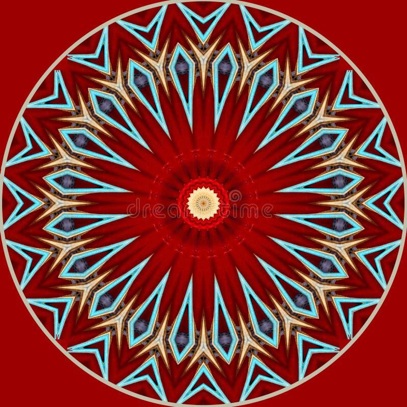Digitaal kunstontwerp, oosters patroon, in rode blauw en gouden vector illustratie