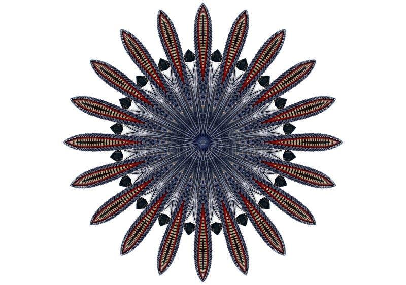 Digitaal kunstontwerp, oosters patroon, rood en blauw royalty-vrije illustratie