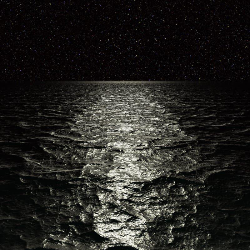 Digitaal Kunstwerk Surreal nachtzeegezicht vector illustratie