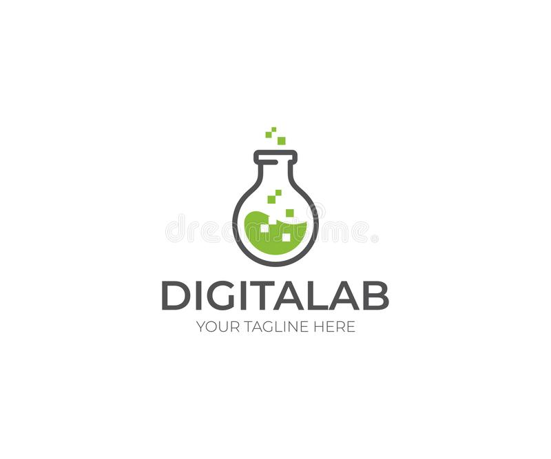 Digitaal Laboratorium Logo Template Chemisch Fles Vectorontwerp royalty-vrije illustratie