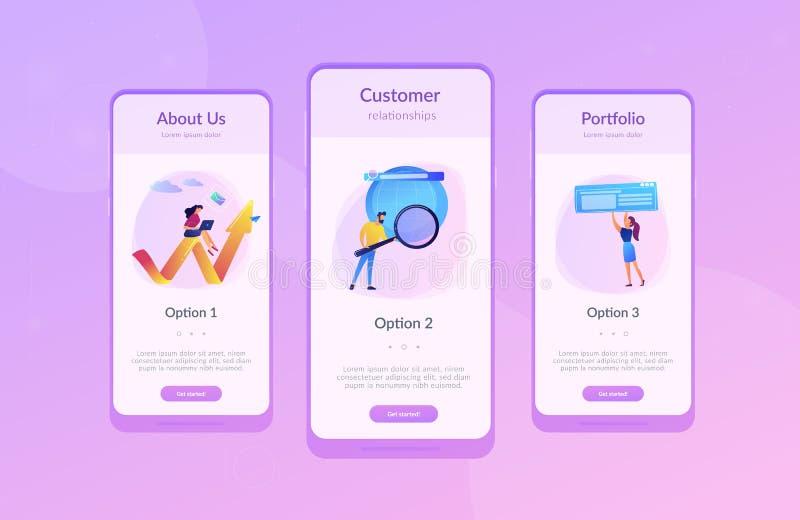 Digitaal marketing app interfacemalplaatje stock illustratie