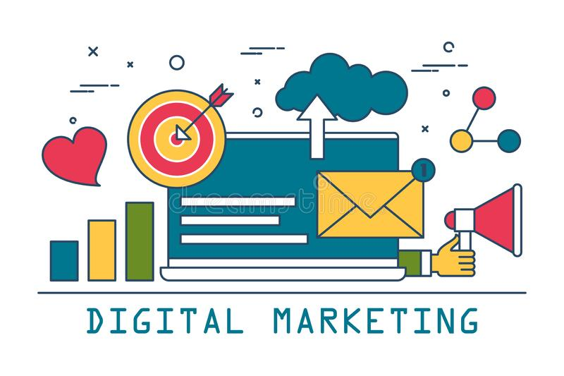 Digitaal Marketing Bannerontwerp Lijnkunst reclame stock illustratie