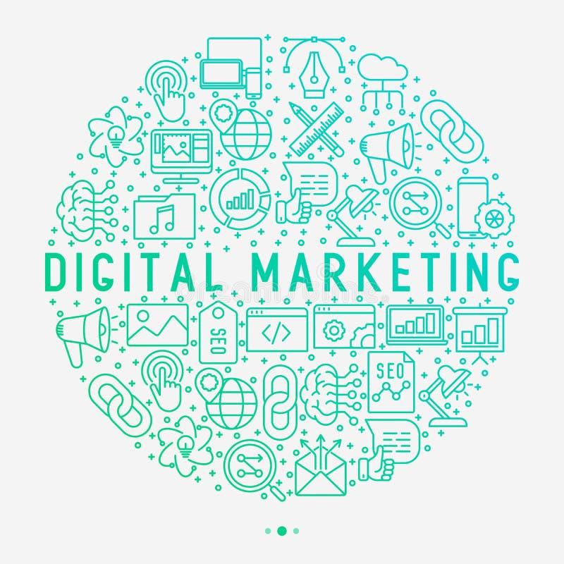 Digitaal marketing concept in cirkel royalty-vrije illustratie