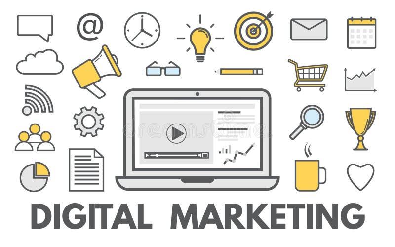 Digitaal marketing concept Het online zaken en kopen Sociaal netwerk Reclame en bevordering Moderne pictogrammen royalty-vrije illustratie