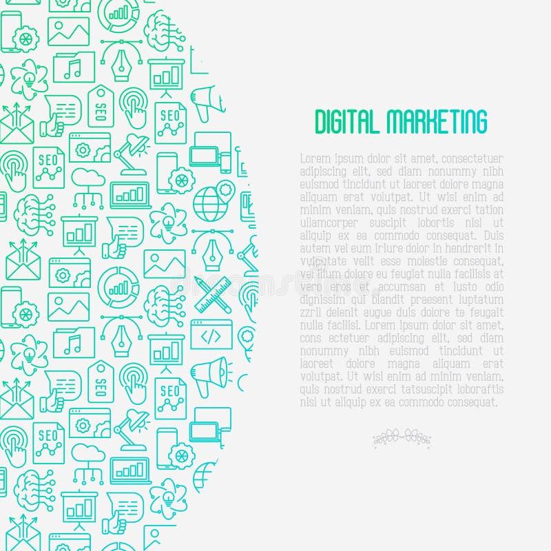 Digitaal marketing concept met dunne lijnpictogrammen vector illustratie