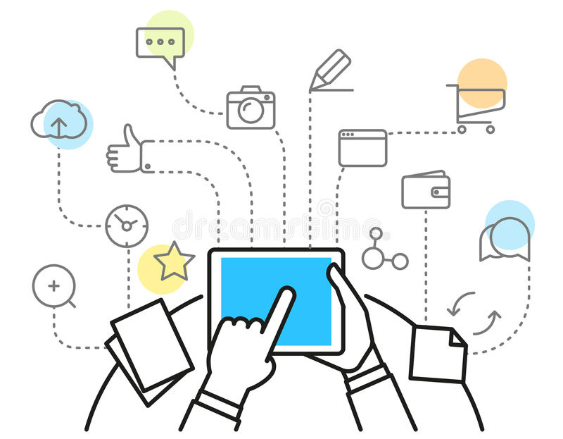 Digitaal marketing concept via modern digitaal gadget vector illustratie