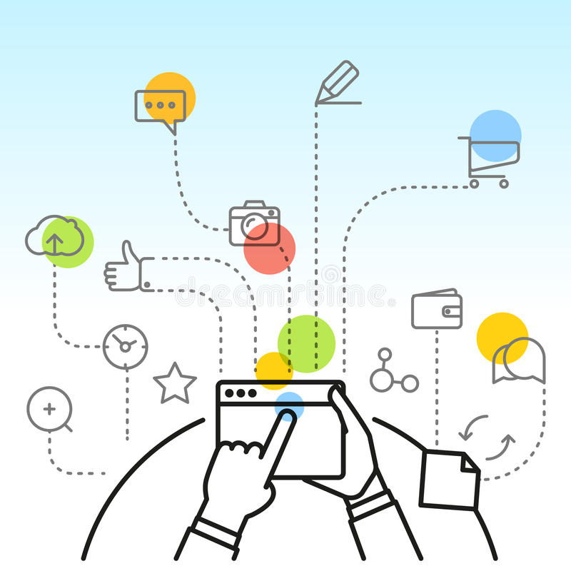 Digitaal marketing concept via modern digitaal gadget stock illustratie