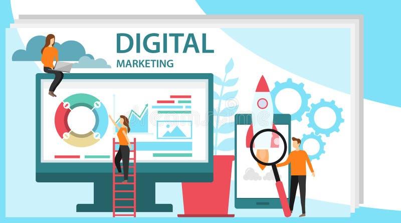 Digitaal marketing concept Concept voor Digitaal op de markt brengend agentschap Specialisten die aan digitale marketing strategi royalty-vrije illustratie