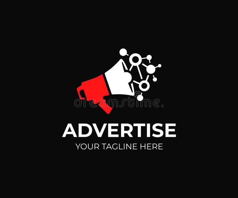 Digitaal marketing embleemmalplaatje Megafoon en viraal marketing vectorontwerp royalty-vrije illustratie