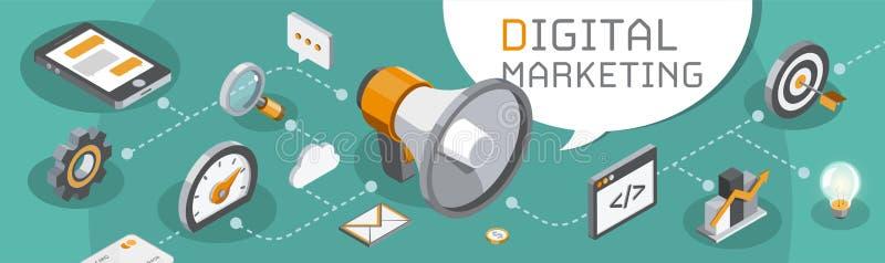 Digitaal marketing en seo concept vector illustratie
