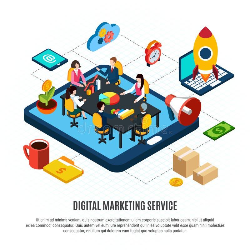 Digitaal Marketing Isometrisch Stroomschema vector illustratie