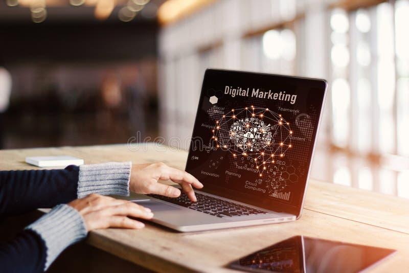 Digitaal marketing media concept Het vloeibare Laptop Scherm stock afbeeldingen