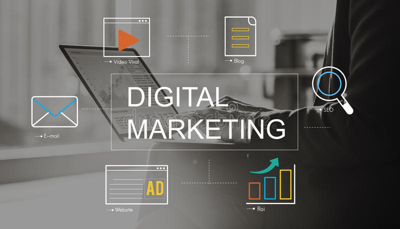 Digitaal Marketing Media Technologie Grafisch Concept stock afbeelding