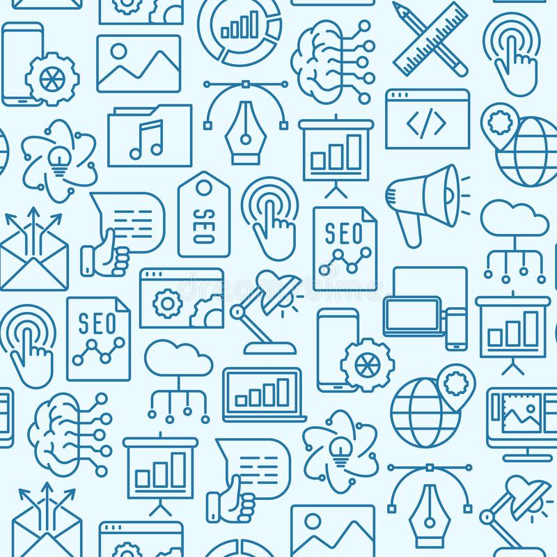 Digitaal marketing naadloos patroon vector illustratie