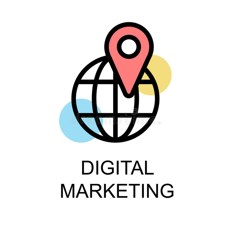 Digitaal marketing pictogram en gebied met nevigation op witte backg stock illustratie