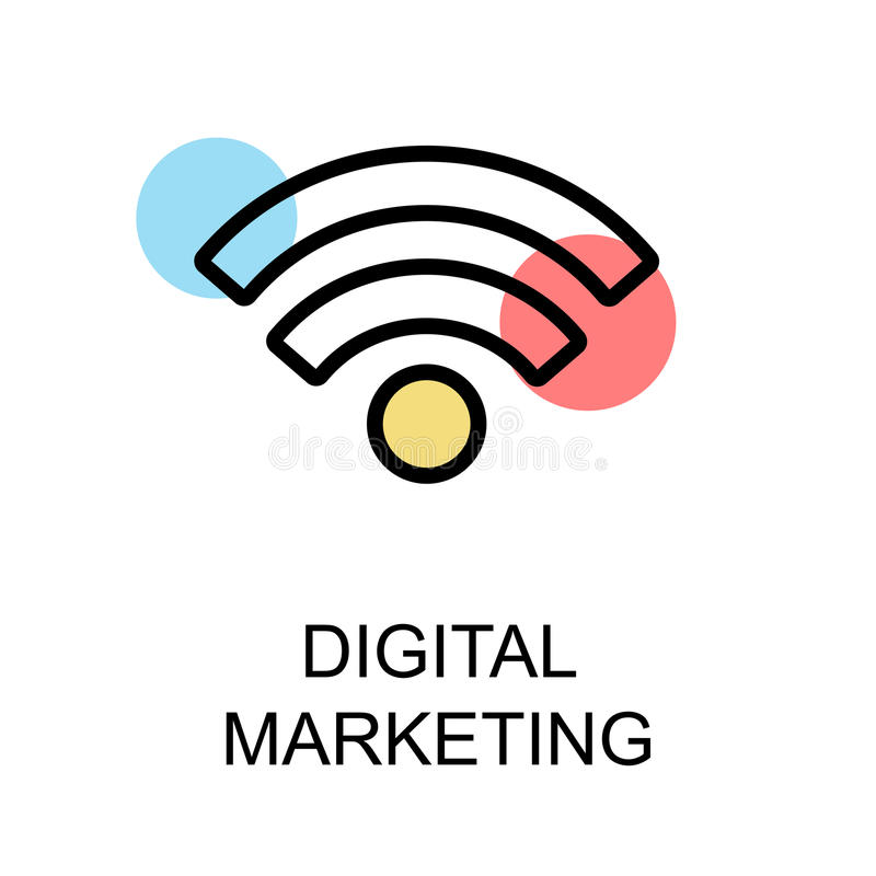 Digitaal marketing pictogram en wifipictogram op witte achtergrond illustr stock illustratie
