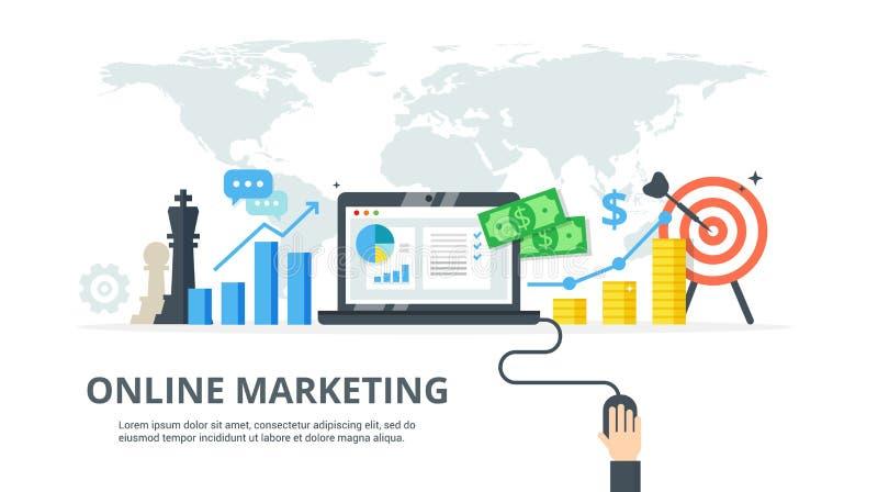 Digitaal marketing proces - banner in vlakke stijl Concept strategie, succesvolle resultaat en de winstgroei Online zaken royalty-vrije illustratie