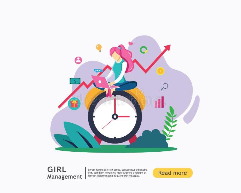 Digitaal marketing strategieconcept met meisjeskarakter het landingspaginamalplaatje van het illustratieweb, banner, presentatie, vector illustratie