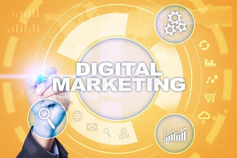 Digitaal marketing technologieconcept Internet Online Zoekmachineoptimalisering SEO SMM reclame stock illustratie